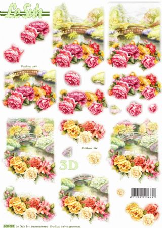 Flowers & Bridges Die Cut 3d Decoupage Sheet From Le Suh - NO CUTTING